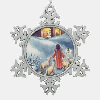 Vintage Christmas Angel Shepherd Nativity Snowflake Pewter Christmas Ornament