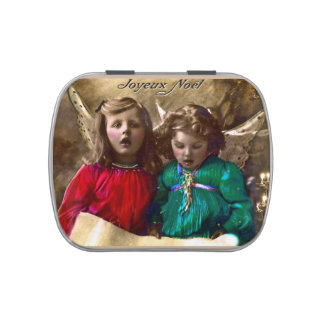 Vintage Christmas Angels Singing Joy to the World Candy Tin