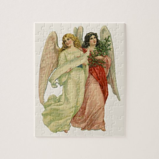 Vintage Christmas, Antique Victorian Angel Die Cut Jigsaw Puzzle