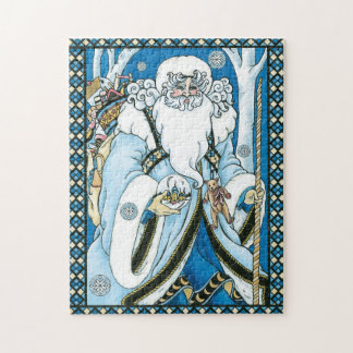 Vintage Christmas, Blue Santa Claus with Snowglobe Jigsaw Puzzle