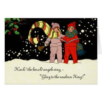 Vintage Christmas Card Carolers