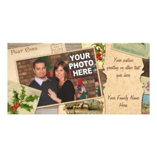 Vintage Christmas Card Collage w/Custom Photo Xmas Custom Photo Card