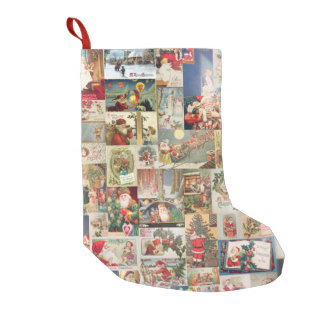 Vintage Christmas Cards Holiday Pattern Small Christmas Stocking
