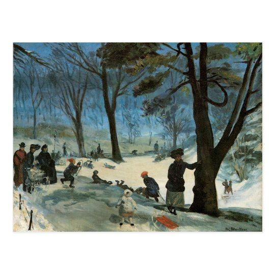 Vintage Christmas, Central Park in Winter Glackens Postcard
