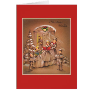 Vintage Christmas Corolers Tan and Red Card