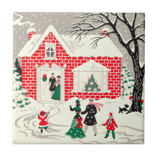Vintage Christmas Countryside Greetings Tile