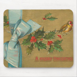 Vintage Christmas Envelope with Ribbon Mouse Pad