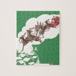 Vintage Christmas Eve, Retro Santa Claus in Sleigh Jigsaw Puzzle