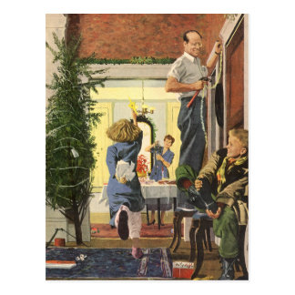 Vintage Christmas Family Decorating the House Post Cards