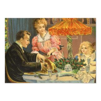 Vintage Christmas, Family Dinner 5x7 Paper Invitation Card