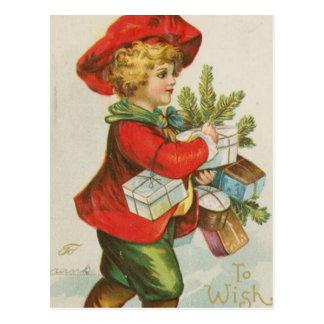 Vintage Christmas Gift Child Postcard