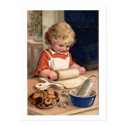 Vintage Christmas - Girl Baking Cookies Post Cards