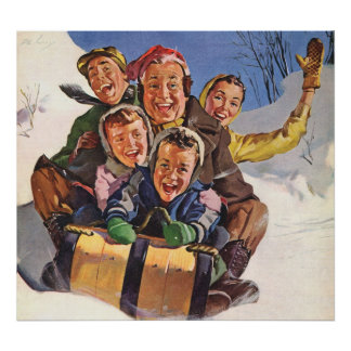 Vintage Christmas, Happy Family Toboggan Sledding Poster