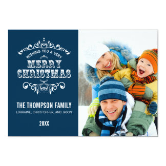 Vintage Christmas Holiday Photo Card-prussian blue 13 Cm X 18 Cm Invitation Card