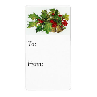 Vintage Christmas Holly Gift Tag