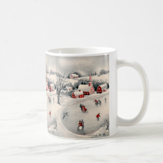 Vintage Christmas, Ice Skating Skaters Frozen Pond Basic White Mug