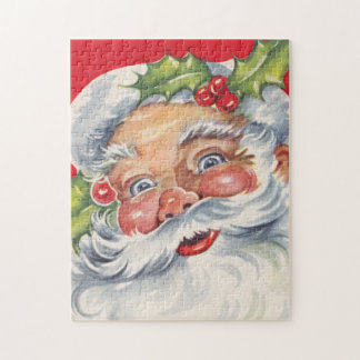 Vintage Christmas, Jolly Santa Claus with His Hat Jigsaw Puzzle