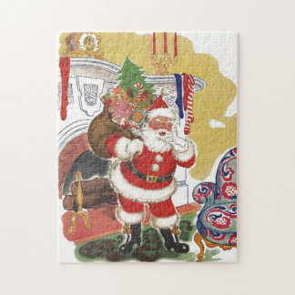 Vintage Christmas, Jolly Santa Claus with Presents Jigsaw Puzzle