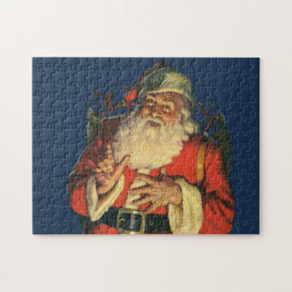 Vintage Christmas, Jolly Santa Claus with Toys Jigsaw Puzzle