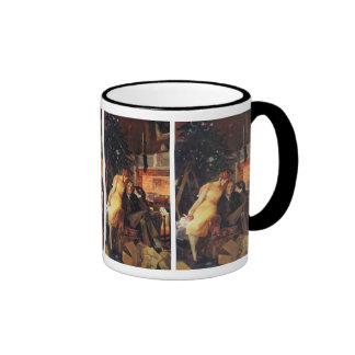 Vintage Christmas, Love and Romance Couple Ringer Mug