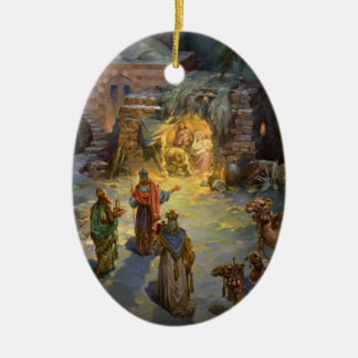 Vintage Christmas Nativity with Visiting Magi Christmas Ornament