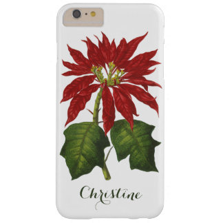 Vintage Christmas, Red Poinsettia Winter Plant Barely There iPhone 6 Plus Case