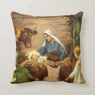 Vintage Christmas, Religious Nativity w Baby Jesus Cushion