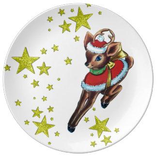 vintage christmas retro reindeer porcelain  plate porcelain plates