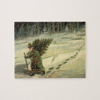 Vintage Christmas, Santa Claus Carrying a Tree Jigsaw Puzzle