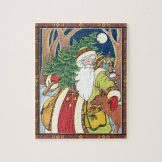 Vintage Christmas, Santa Claus Deer in Forest Jigsaw Puzzle