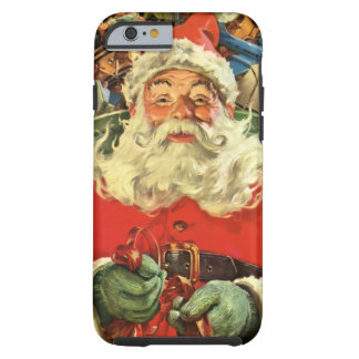 Vintage Christmas, Santa Claus Flying Sleigh Toys Tough iPhone 6 Case