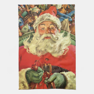 Vintage Christmas, Santa Claus in Sleigh with Toys Kitchen Towels