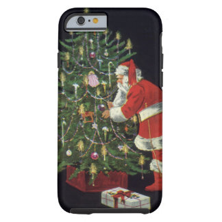 Vintage Christmas, Santa Claus Lit Candles on Tree Tough iPhone 6 Case