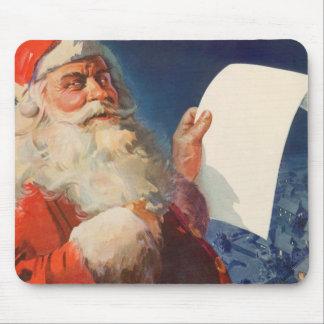 Vintage Christmas, Santa Claus Naughty Nice List Mouse Pad