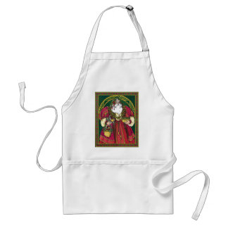 Vintage Christmas, Santa Claus with Holly Leaves Standard Apron