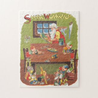 Vintage Christmas Santa with Elves in the Workshop Jigsaw Puzzle