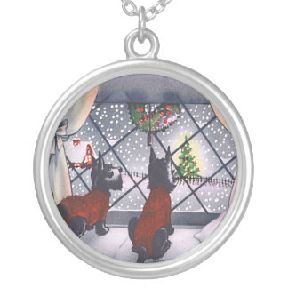 Vintage Christmas Scottish Terrier Puppies Silver Plated Necklace