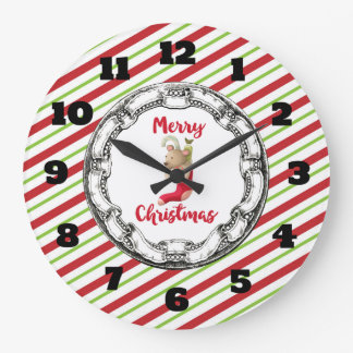 Vintage Christmas Teddy Bear On A Striped Pattern Clock