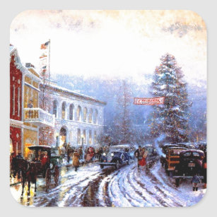 Vintage Christmas Town Square Sticker