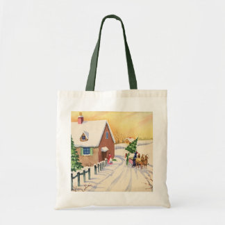 Vintage Christmas Tree on a Snowy Winter Road Tote Bag