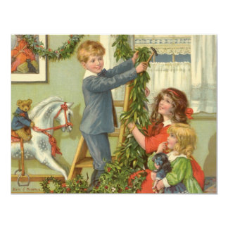 Vintage Christmas, Victorian Children Decorating 4.25x5.5 Paper Invitation Card