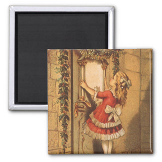 Vintage Christmas Victorian Girl Hanging a Garland Magnet