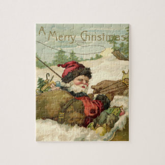 Vintage Christmas, Victorian Santa Claus in Sleigh Jigsaw Puzzle