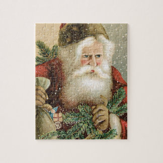Vintage Christmas, Victorian Santa Claus with Pine Jigsaw Puzzle