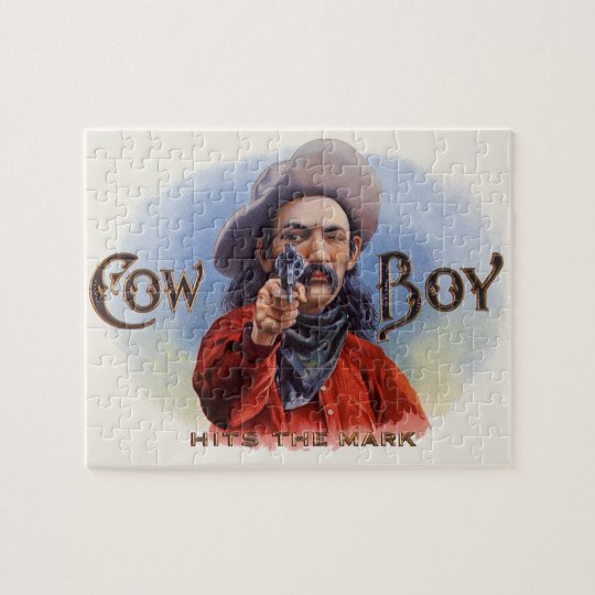 Vintage Cigar Label Art, Cowboy Hits the Mark Jigsaw Puzzle