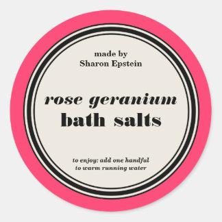 Vintage Circle Frame Bath Salts Label Template Sticker