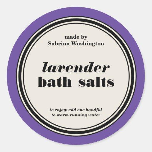 Vintage Circle Frame Bath Salts Label Template Stickers
