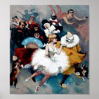 Vintage Circus Ballerina Clown poster