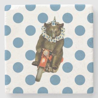 Vintage Circus Bear on Blue Polka Dots Stone Coaster