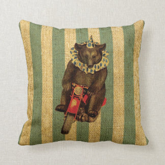 Vintage Circus Bear on Motorcycle Throw Cushions